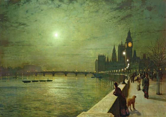 Grimshaw, John Atkinson: Reflections on the Thames, Westminster. London/Big Ben Fine Art Print/Poster. Sizes: A4/A3/A2/A1 (003232)